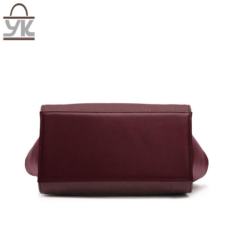 Contrast Color Good Quality PU Leather Women Bat Handbag