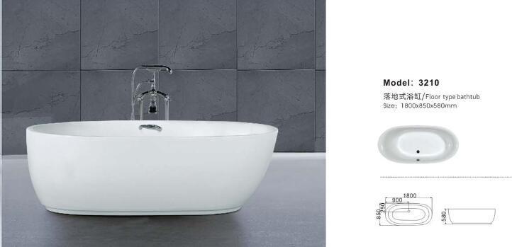 Hot Free Standing Oval Acrylic Bathtub