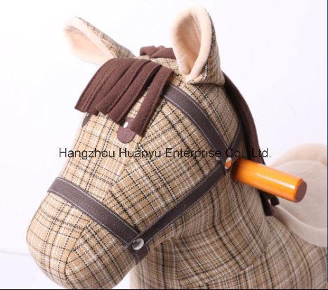 Wooden & Plush Rocking Horse-Vintage Style