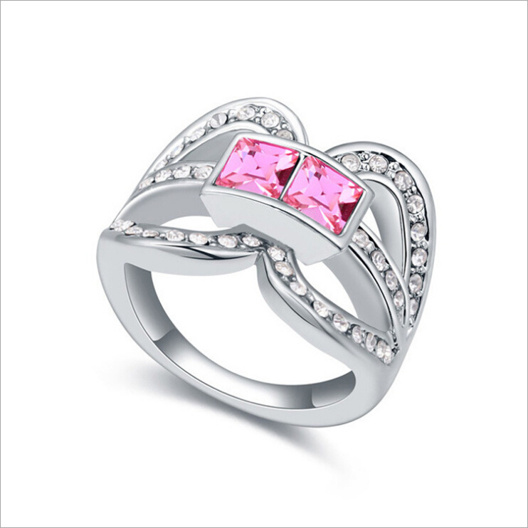 VAGULA Square Zircon Silver Ring for Women