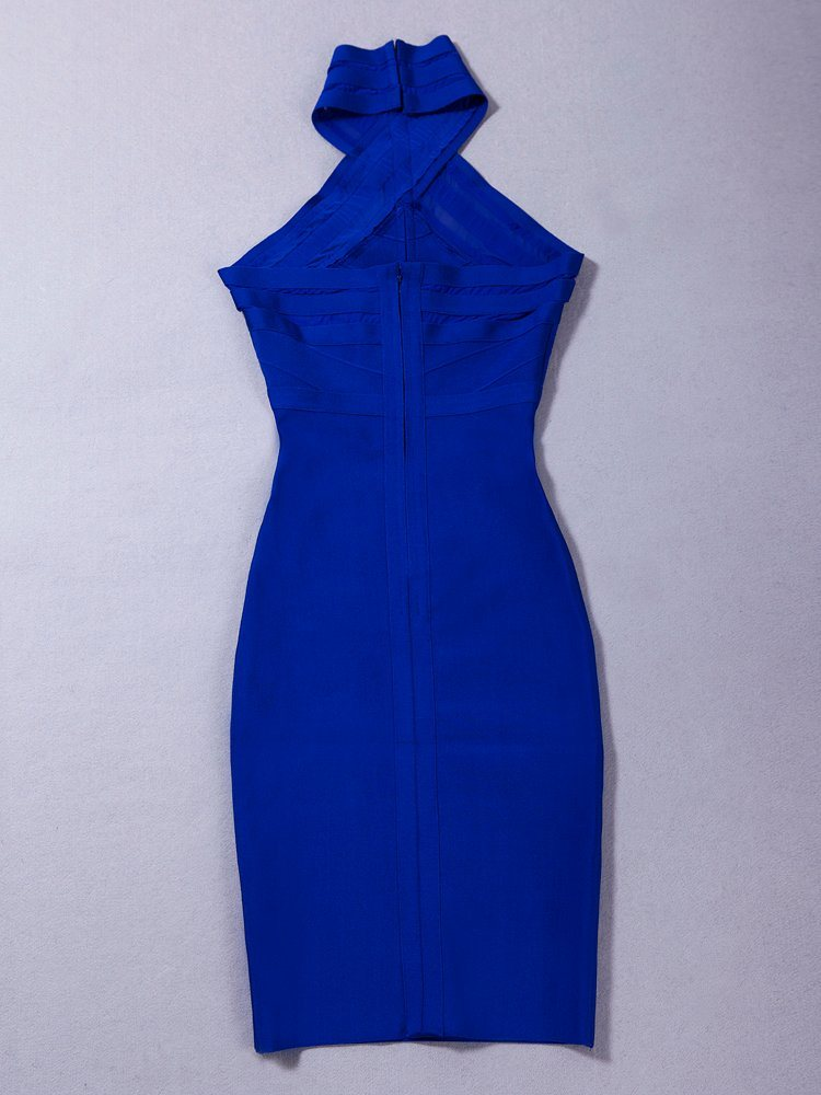Hang Neck Blue Bandage Evening Party Dress