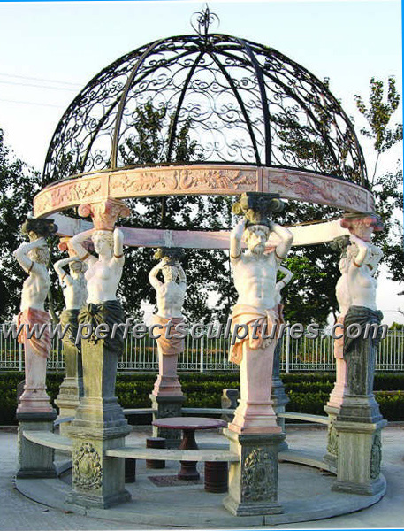 Stone Marble Garden Gazebo with Casting Iron Top (GR034)
