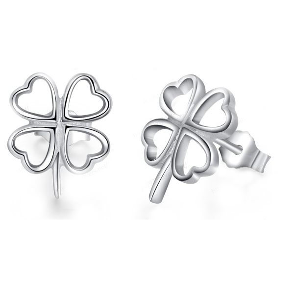 925 Sterling Silver Four Leaf Clover Stud Earrings Wedding Jewelry
