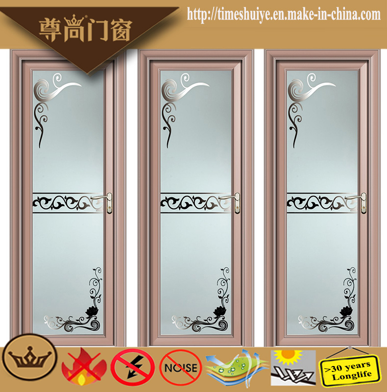 Aluminium Hinged Doors for Interior Bathroom Decoration with Flowers