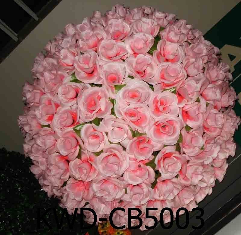 China artificial silk kissing rose flower ball for wedding for Artificial flowers for wedding decoration