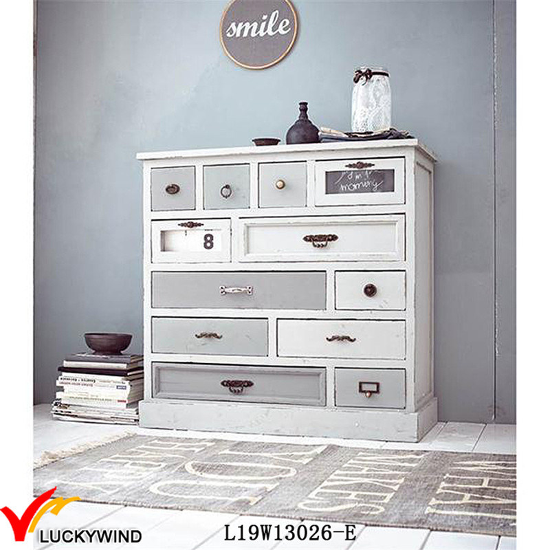 Solid Fir Wood Vintage Shabby Chic Furniture Multi-Drawer