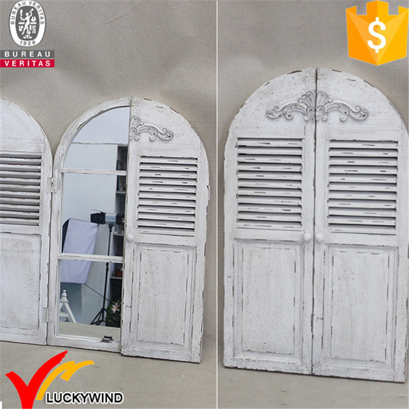 Ecorative Vintage Style Arched Shutter Window Wood Wall Mirror