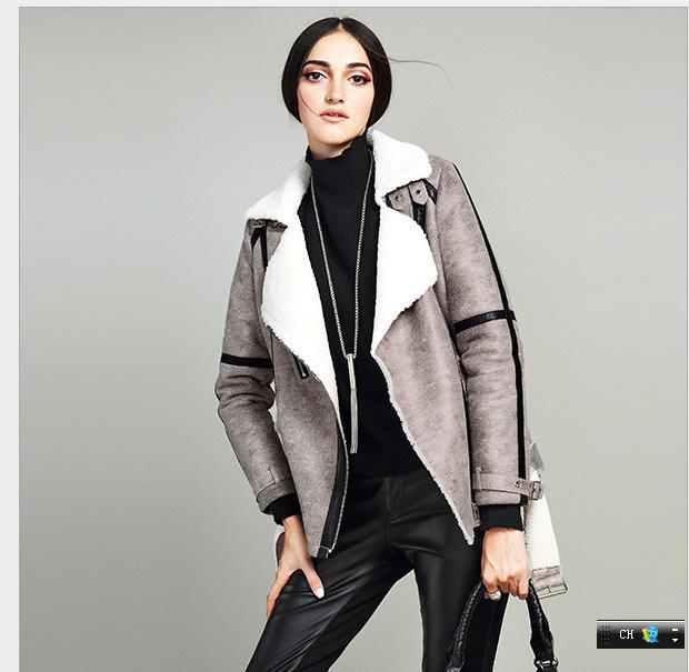 Imitation Leather Lamb Fur Coat for Women