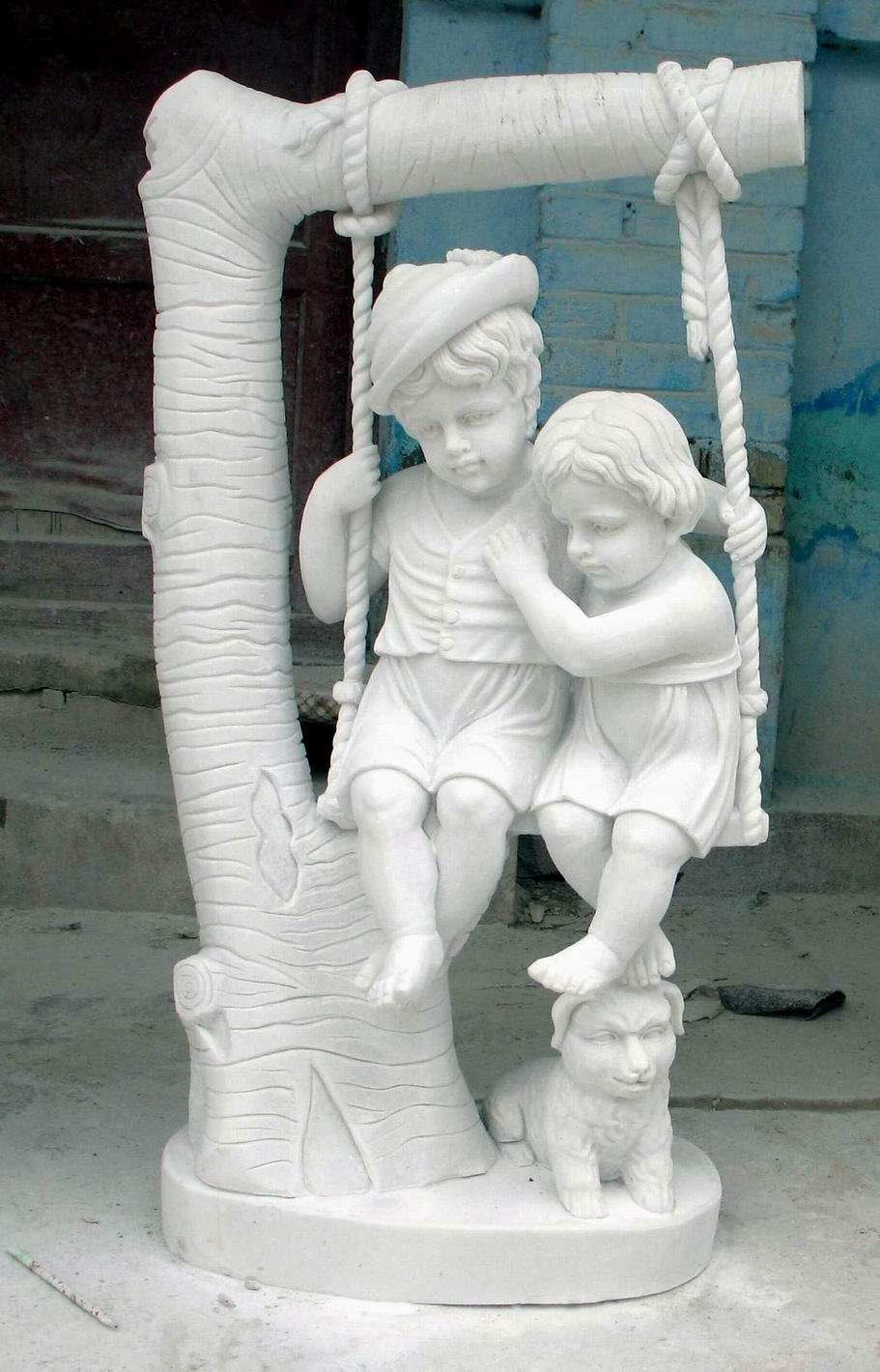 White Marble Statue : China white marble children statue sculpture for garden