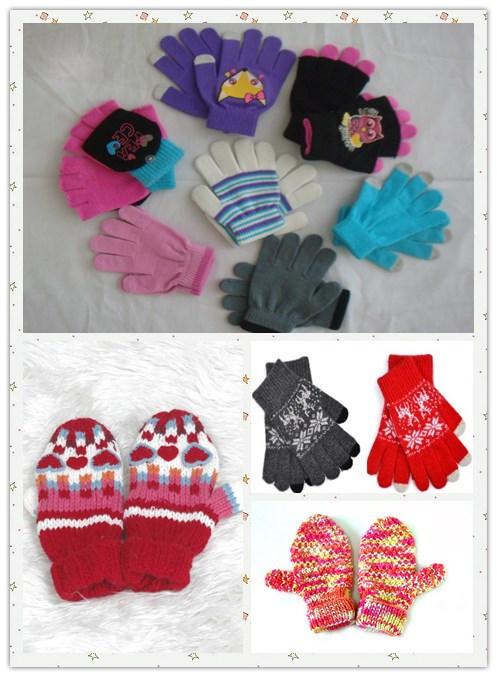 Wholesale 100% Acrylic Knitted Girl Fashion Glove