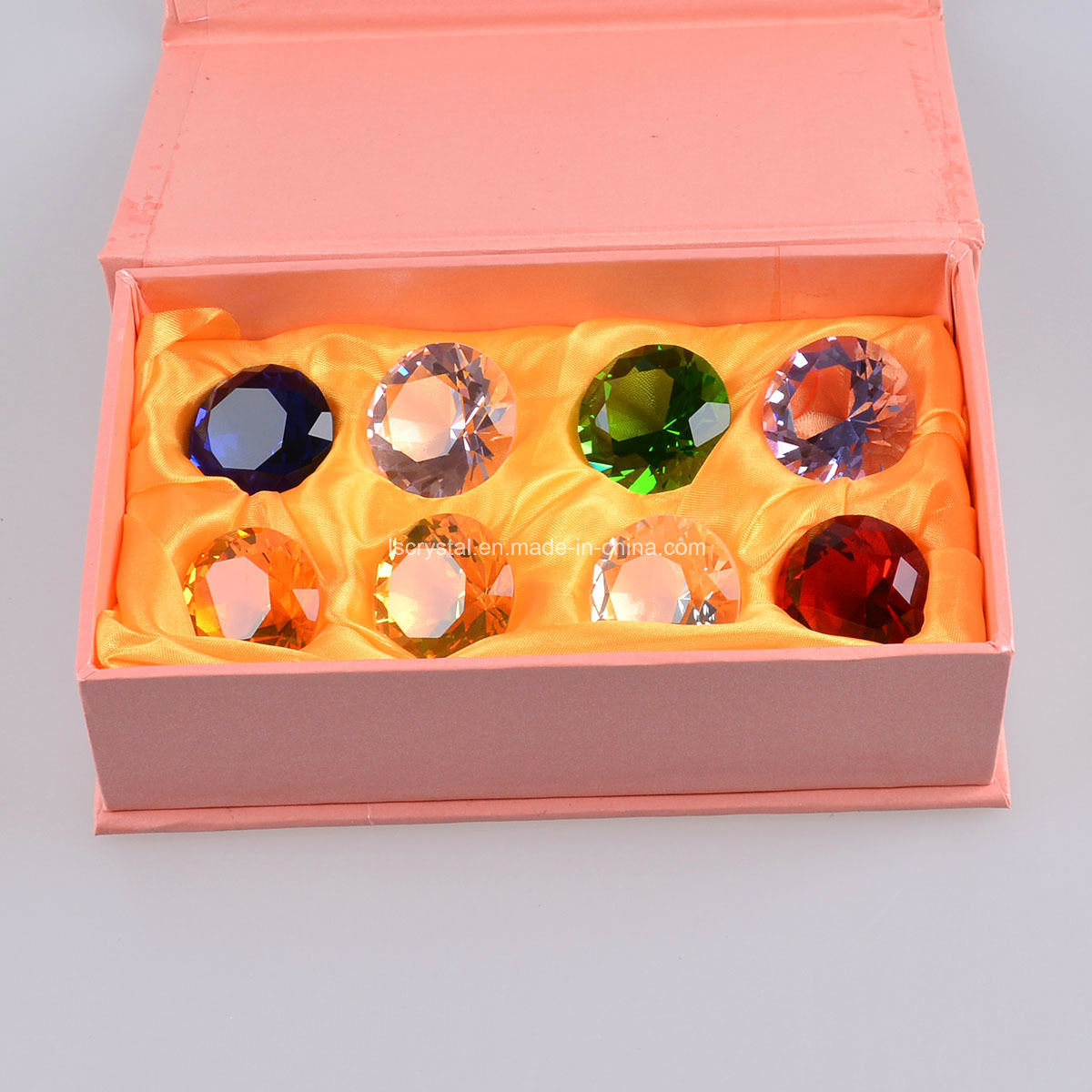 8PCS/Set 30mm Multi Color Crystal Diamond Paperweight, Birthday Gifts