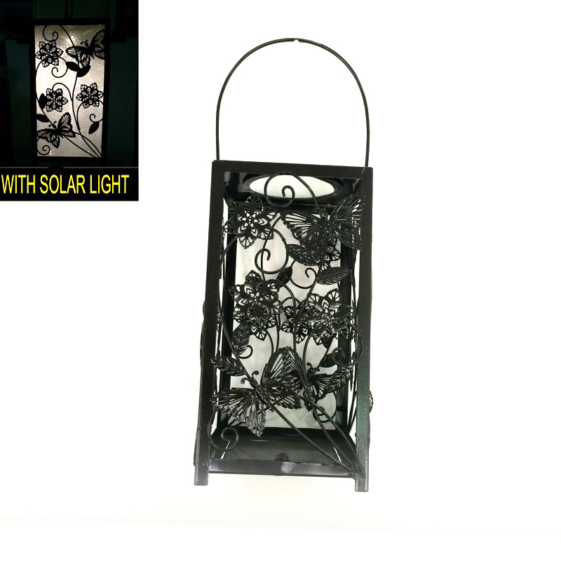 Popular Solar Powered Garden Decoration Metal Butterfly Lantern