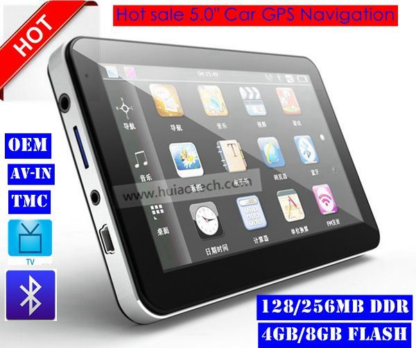 Hot Sale Portable Handheld 5.0 Inch Car GPS Navigator with Wince 6.0 Cortex A7 Dual Core 800MHz CPU, Bluetooth Handsfree, FM Transmitter Sat Nav G-5003