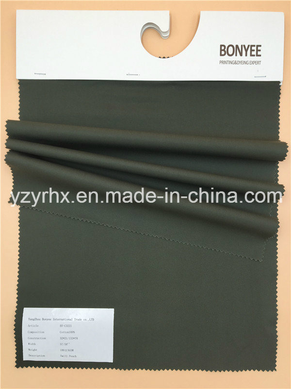 Finished Fabric 100% Cotton Twill Peach Printed Army Green
