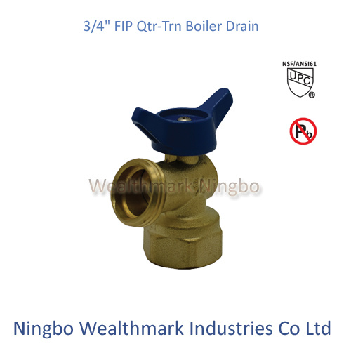 "Qtr-Trn 3/4"" Fip Boiler Drain Brass Valve of Ball Type"