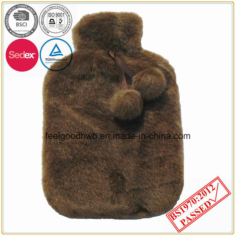 BS Quality Hot Water Bottle with POM POM Plush Cover