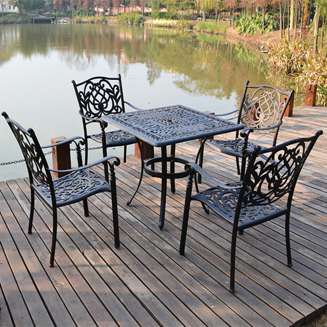 Outdoor Cast Aluminum Garden Furniture Patio Set Metal Tables and Chairs