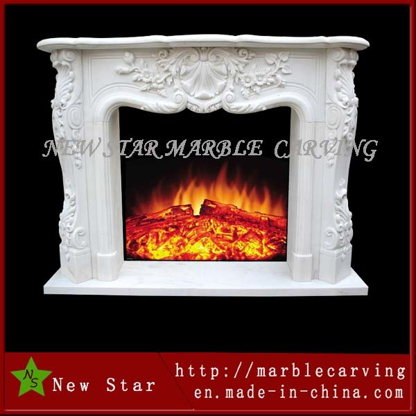 Marble Fireplace with Beautiful Flower Fireplace Mantel Surround