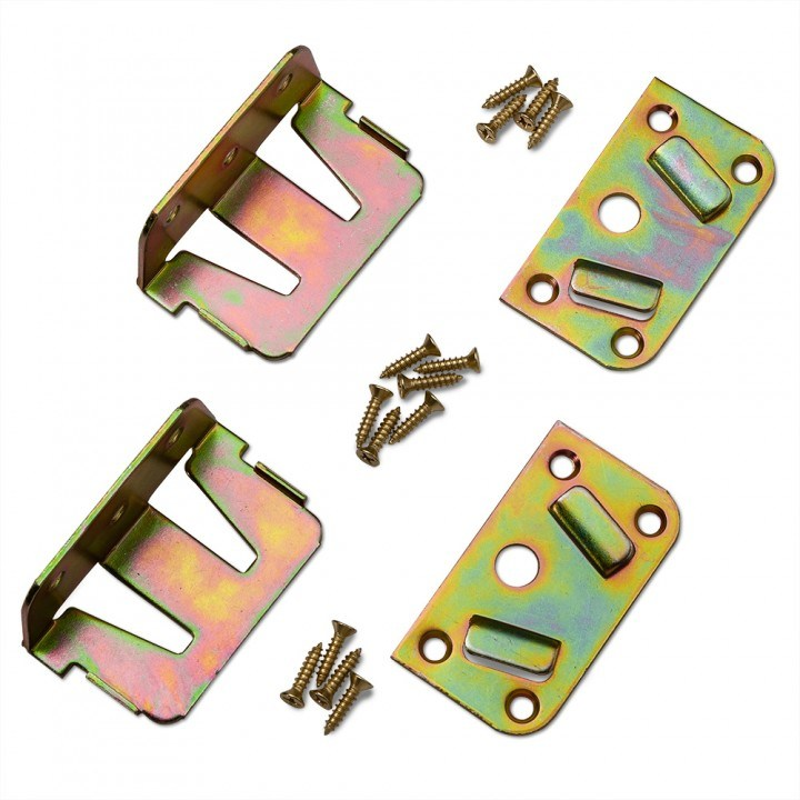High Band Brass Plated Steel Bed Rail No-Mortise Fasteners