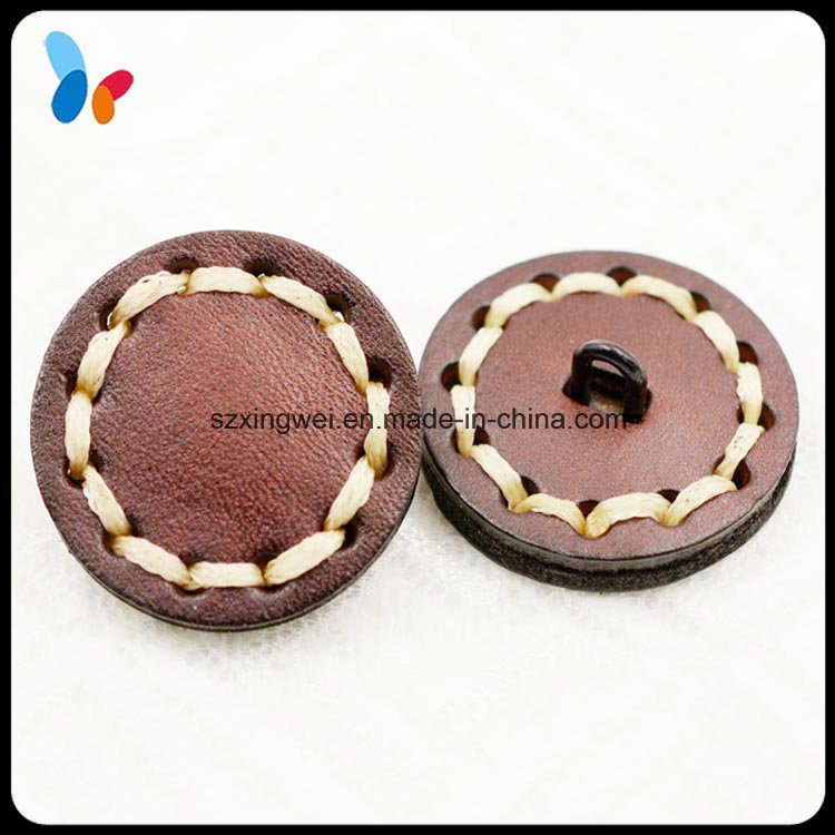 Flat Back Style Seam Stitched Red Color Button Genuine Leather Button