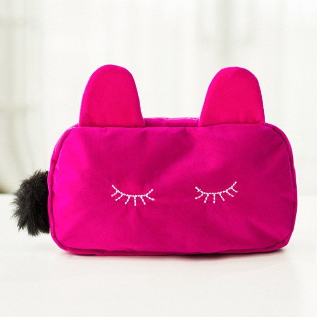 Playful Cat Large Capacity Cosmetic Bag Korea Cute Clutch Bag Package Small Purse or Wallet 50g