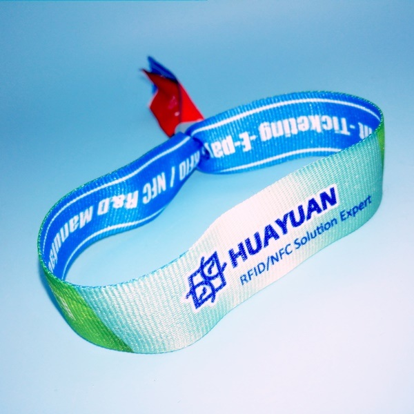 Logo Printed 13.56MHz FM08 RFID Fabric Bracelets for Access Control