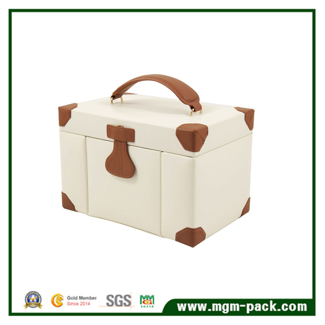 High Quality Luxury Custom Thick Portable Leather Jewelry Box