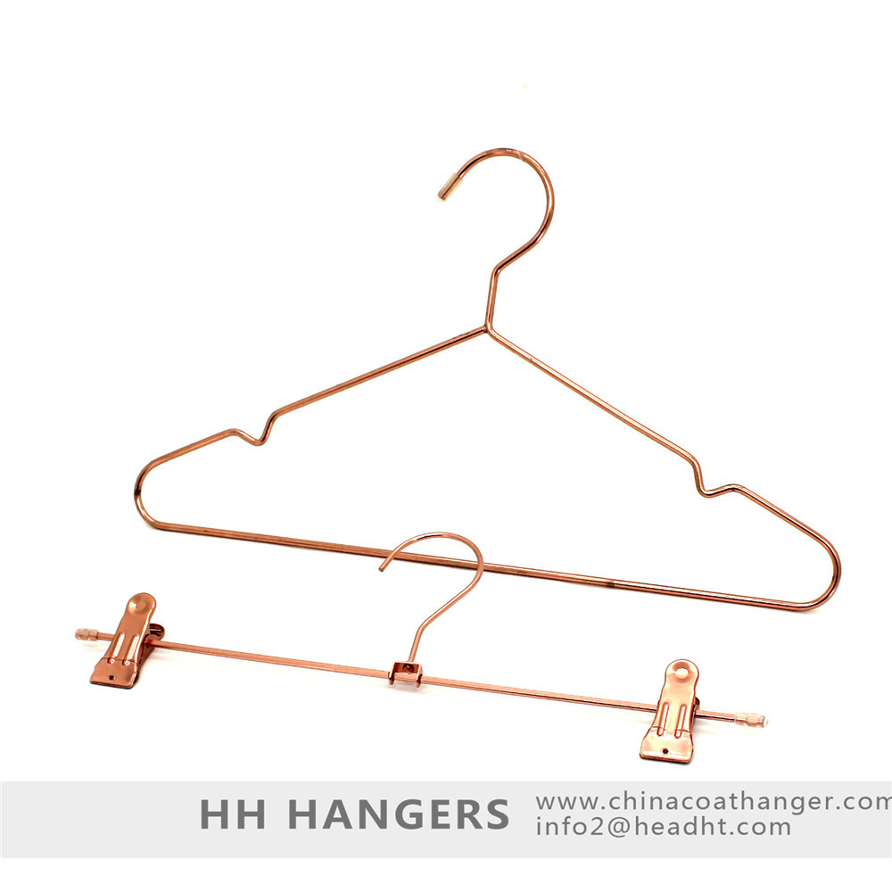 Fashion Copper Color Metal Clothes Hanger Rose Gold Hangers for Jeans