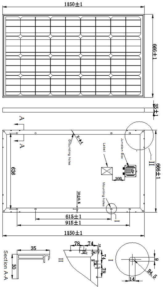 18V 90W 95W 100W Monocrystalline Solar Panel PV Module with TUV ISO Certificate