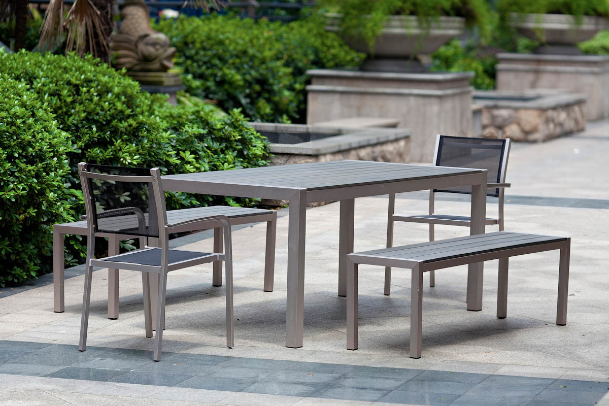 Outdoor Burshed Aluminum Ploywood Dining Table and Chair Set BZ BR022