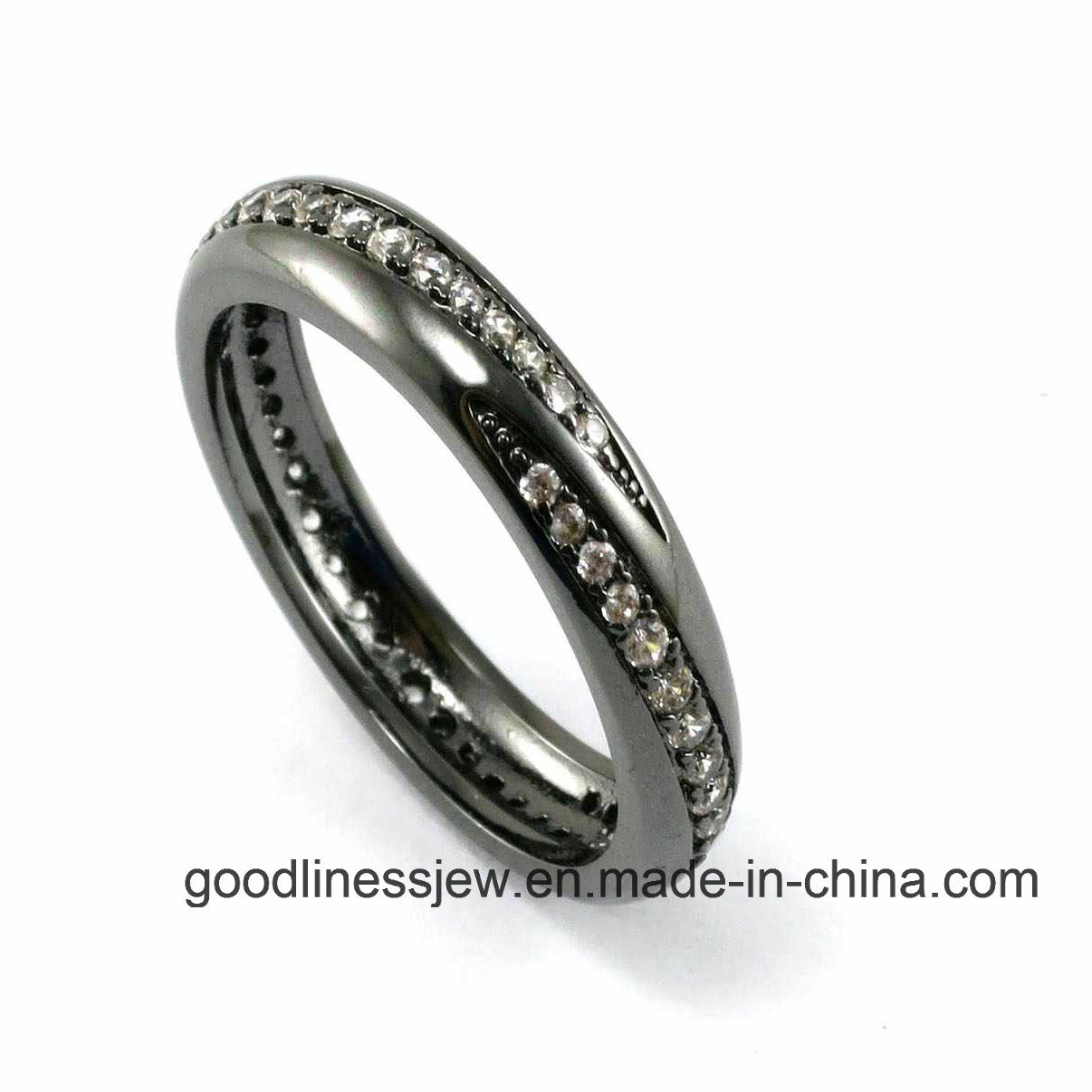 Black Ring with Gemstone (R9789)