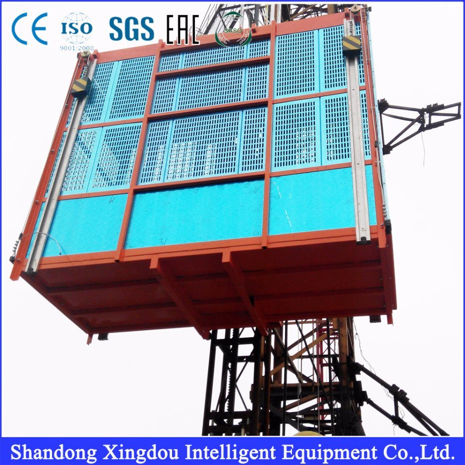 Construction Hoist Lift for Building with MID Speed Capacity 1000kg Double or Single Cage