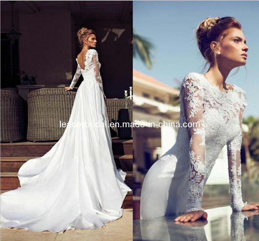 China sheer long sleeves wedding dress v back chiffon lace for Long sleeve sheer wedding dresses