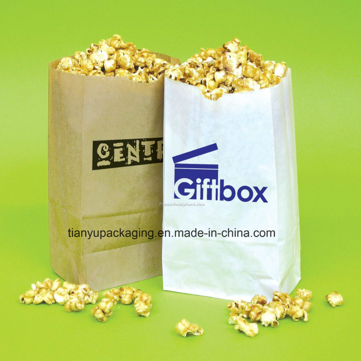 Popcorn Bag Natural Brown Kraft Paper Bag