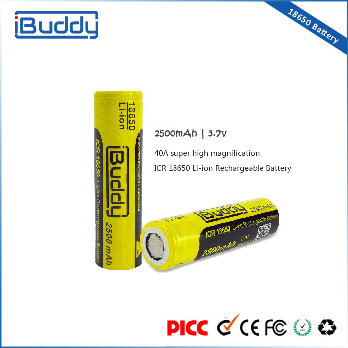 Factory Promotion Rechargeable 18650 Battery 2500mAh for Box Mod