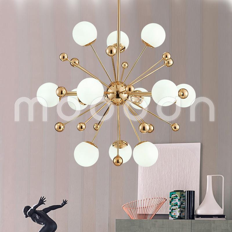 Modern Simple Golden Dandelion Shape Glass Ball Chandelier for Living Room