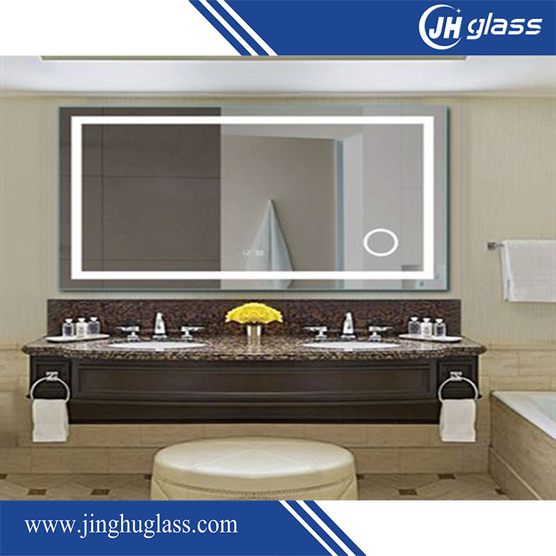 Frameless Magnified LED Lit Mirror with Infrared Sensor