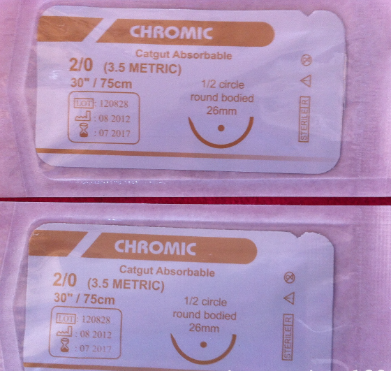 Surgical Suture, USP2/0 Chromic Suture with Needle