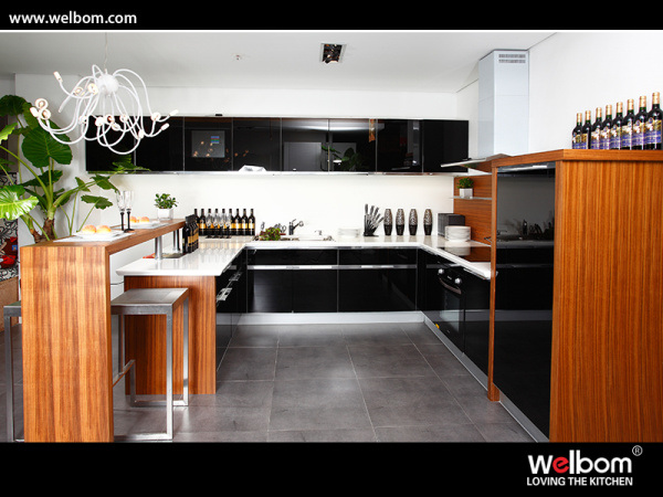 China modern high gloss black kitchen cabinets glass doors for Black kitchen cabinets with glass doors