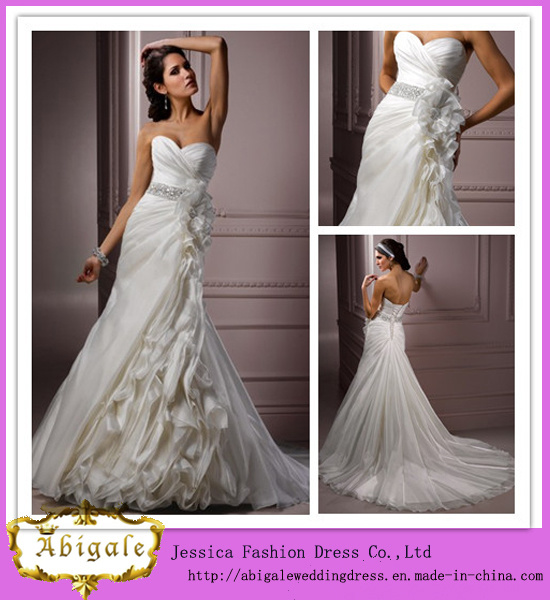 Latest Style Full Length a-Line Sweetheart Neckline Beaded Organza Ruched White Wedding Dress 2014 with Detachable Train (LD1000)