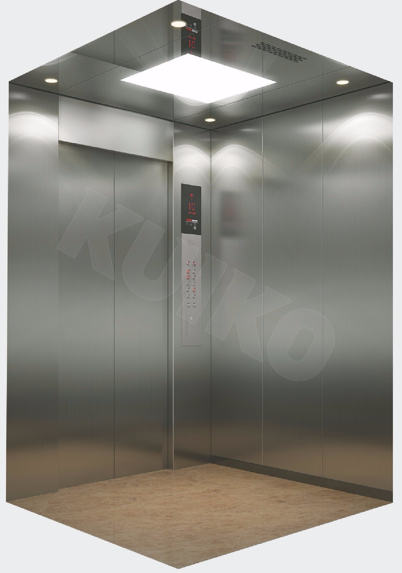 Passenger Elevator with Hairline Stainless Steel Elevator Machine