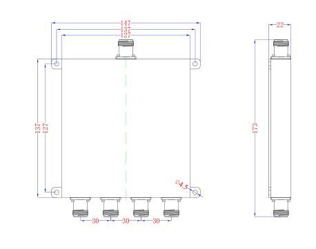 GSM/FM/UHF/UMTS Microwave 300-960MHz 4 Way Power Divider (Power Splitter)