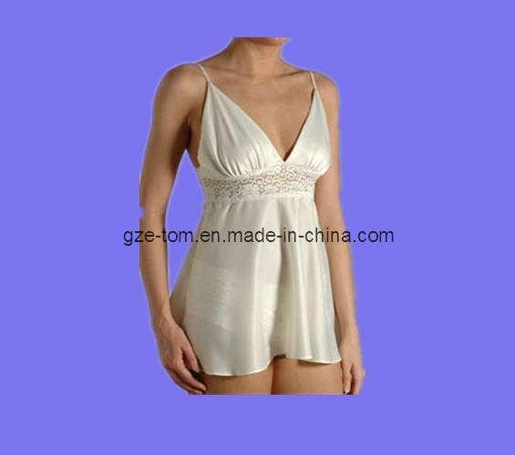 Women's Silky Satin Night Dress Sexy Babydoll (ET0102)