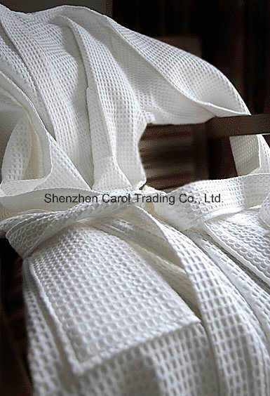 Hotel Textile Cotton White Waffle Bathrobe