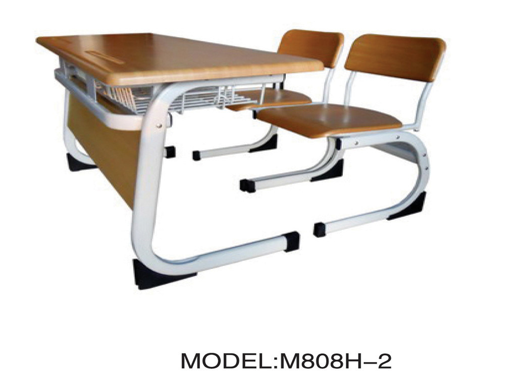 China Double Wooden School Desk And Chair M808H 2 Photos Pictures M