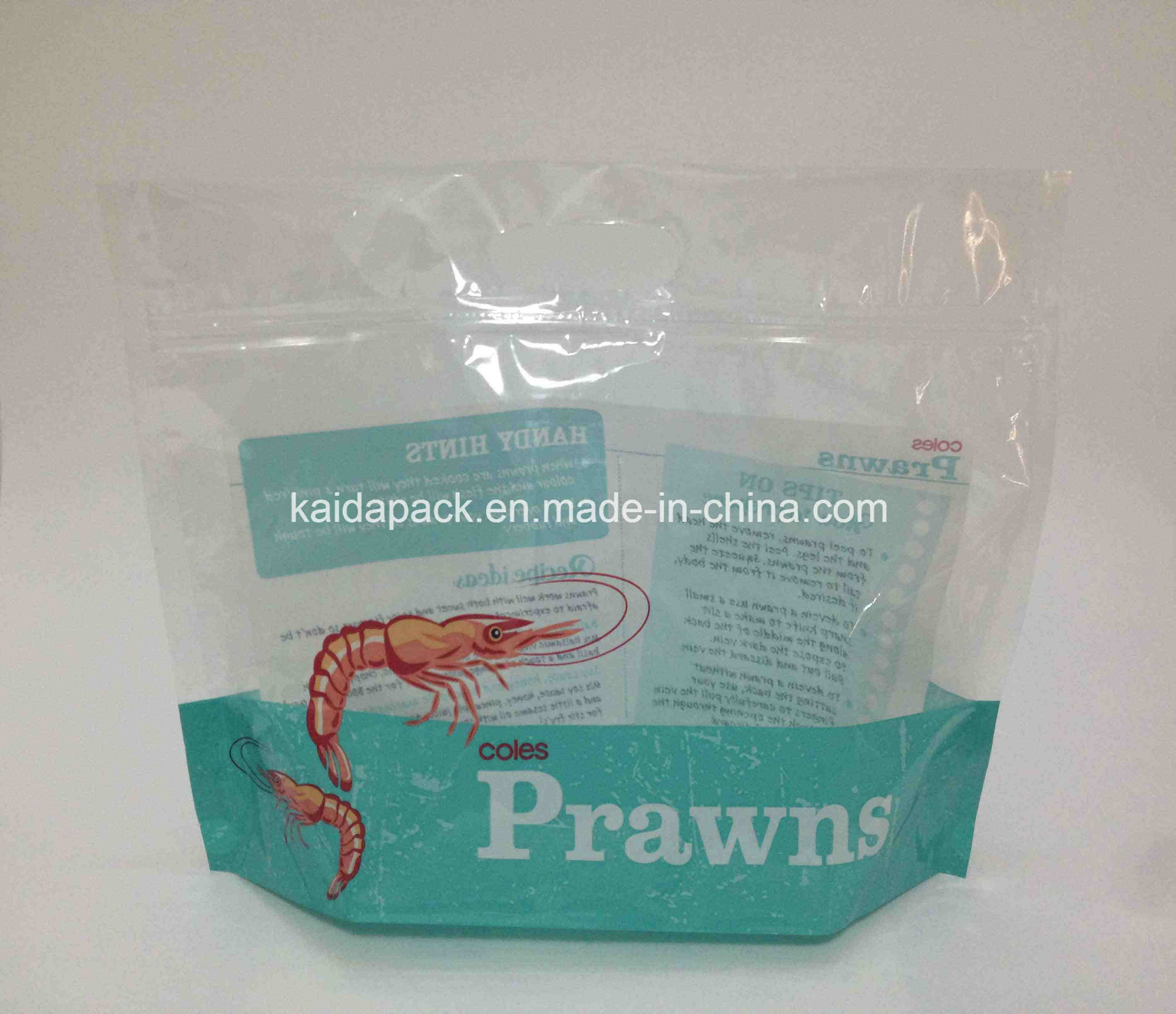 Plastic Handle Stand up Zipper Packaging Bag for Prawn