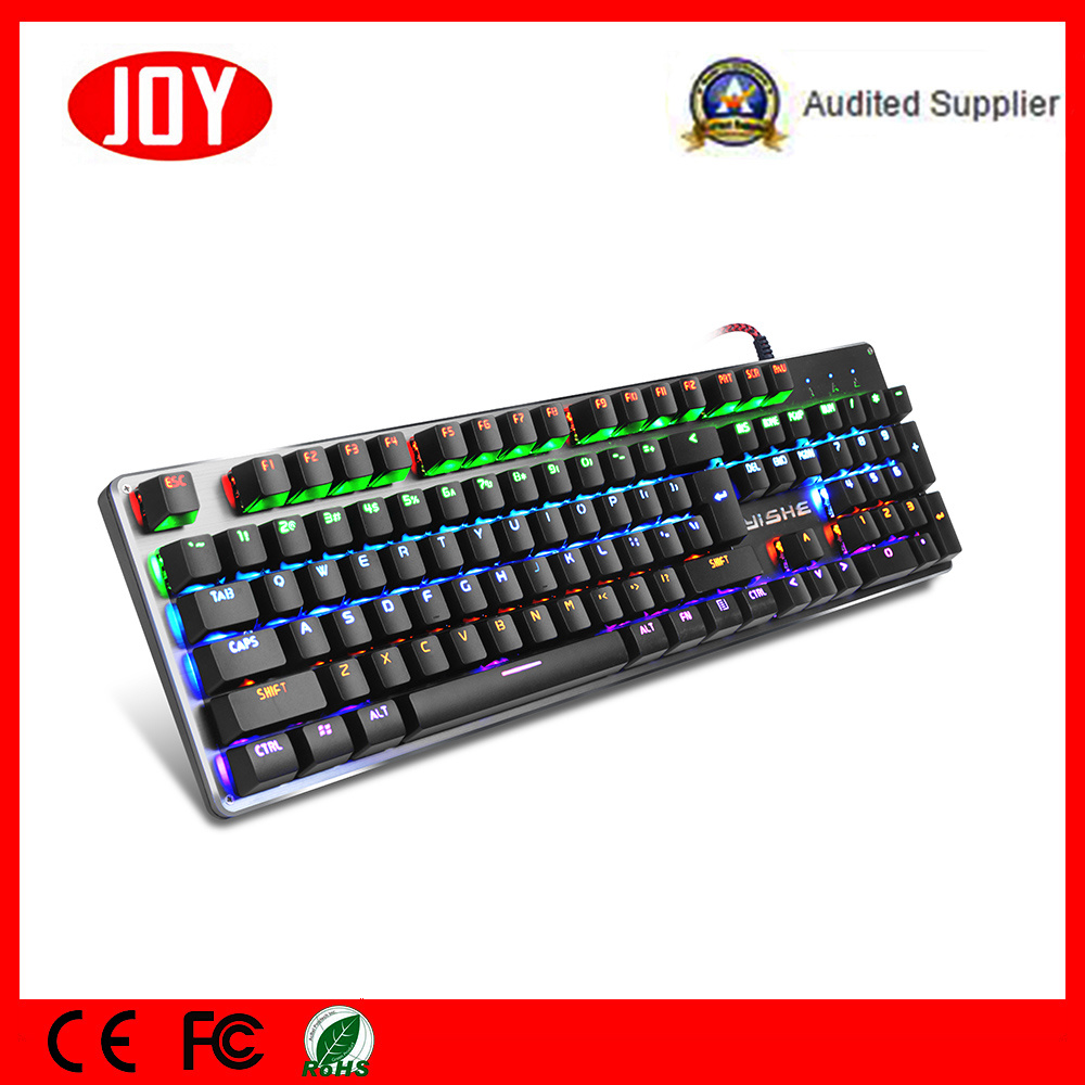 Blue Switch Metal Panel Gaming Wired USB Keyboard