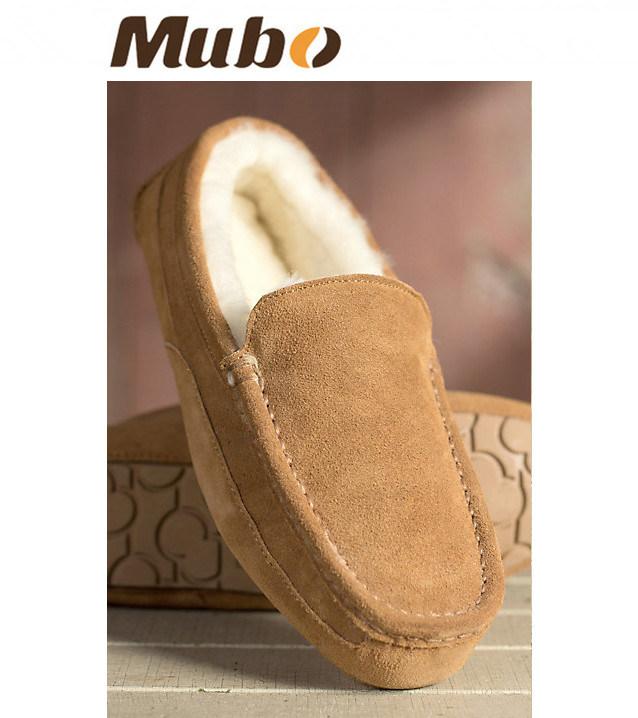 Men′s Warm Winter Sheepskin Slippers