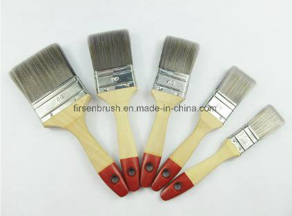 White Bristle Paint Brush with Varnished Wooden Handle with Red Tip