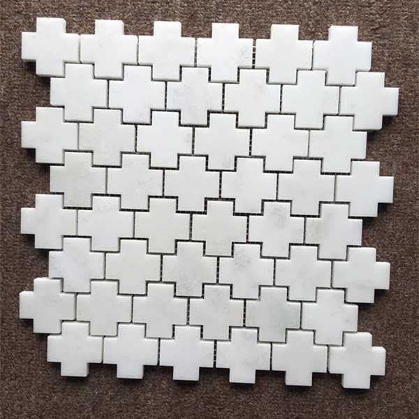 The Cross Shape Oriental White Marble Floor Marble Mosaic Tile